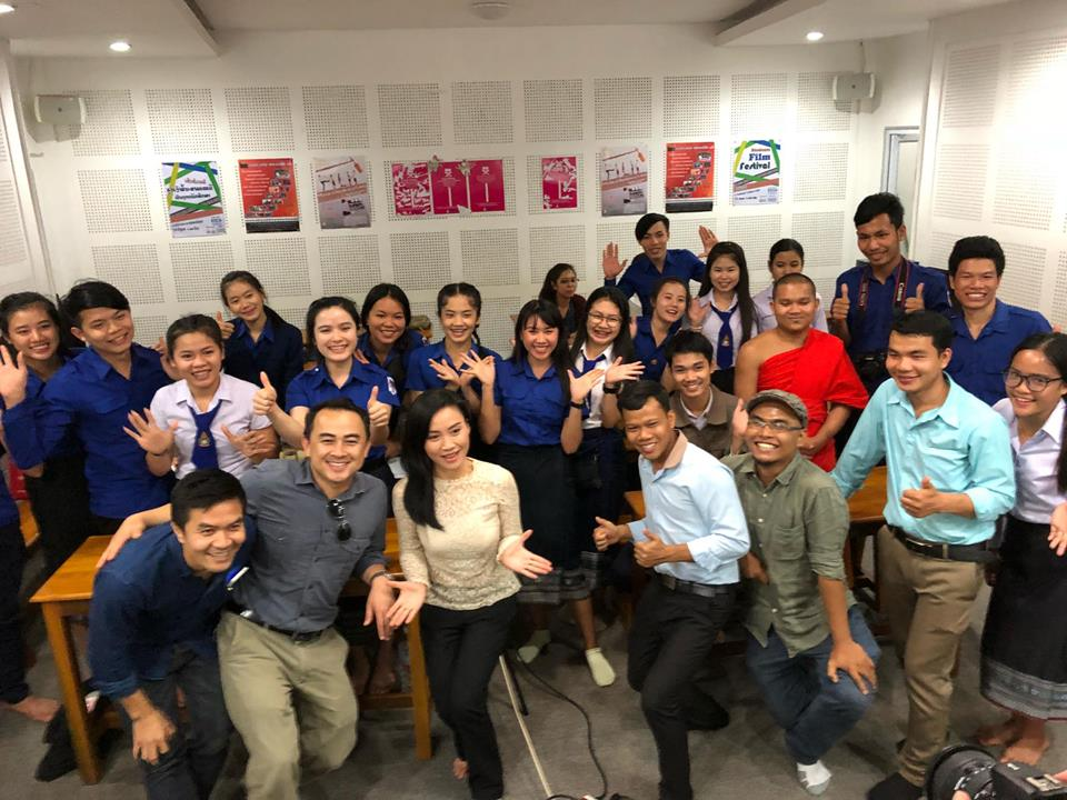 Steve Arounsack and Aluna meet with students from the National University of Laos in Vientiane after a private screening.