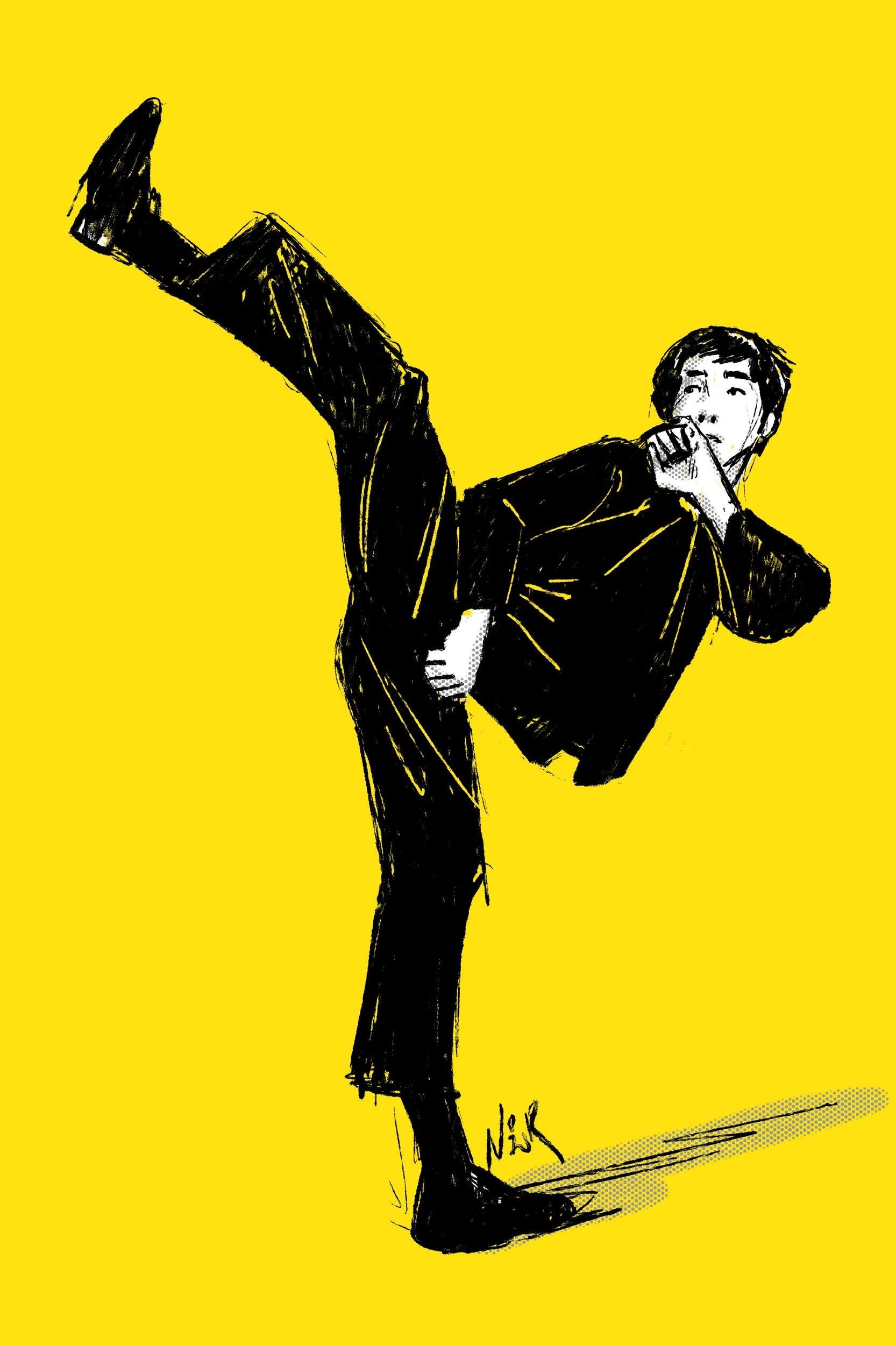 Bruce Lee doing a hook kick. Illustration by Nor Sanavongsay.