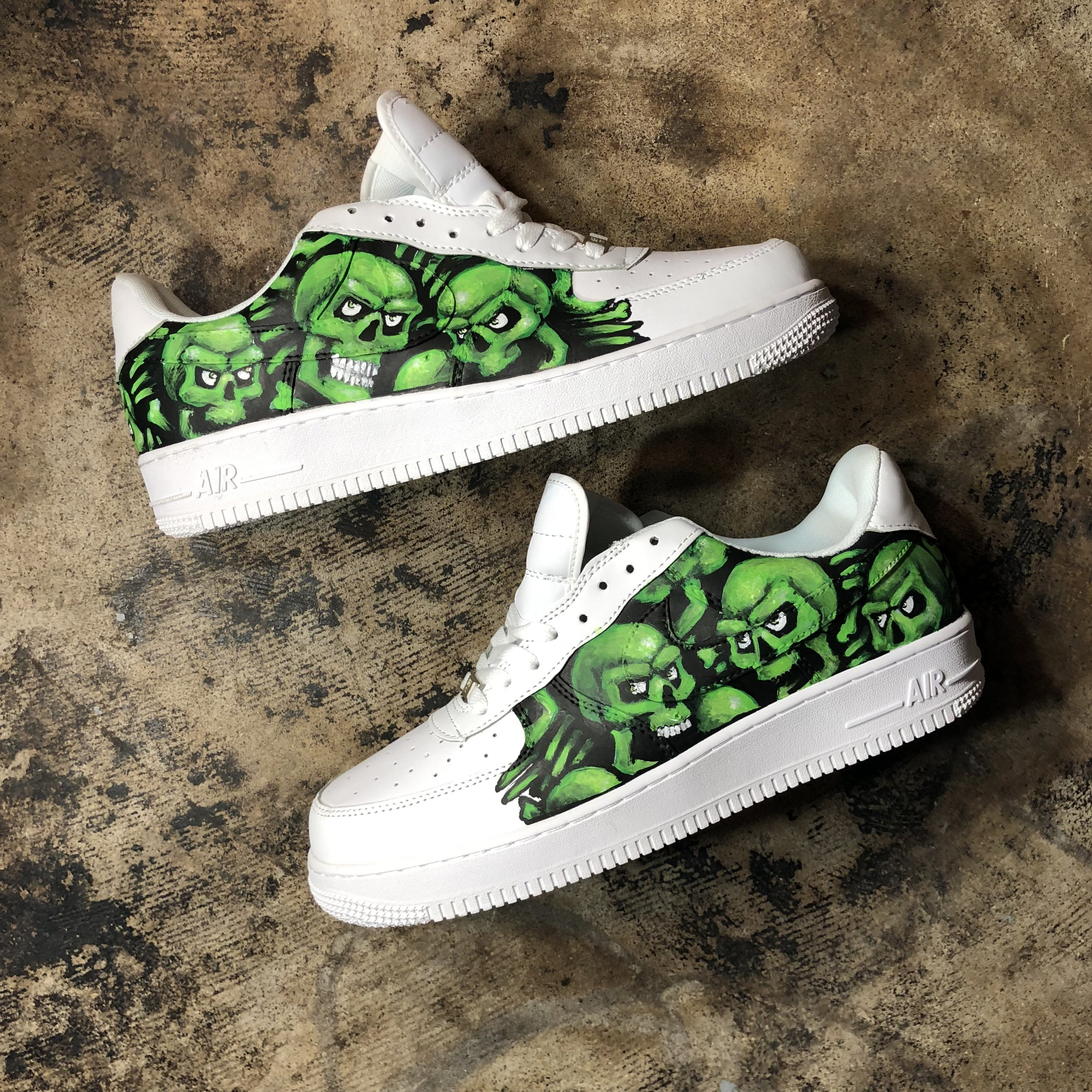 Supreme Skulls Hand Painted Air-force