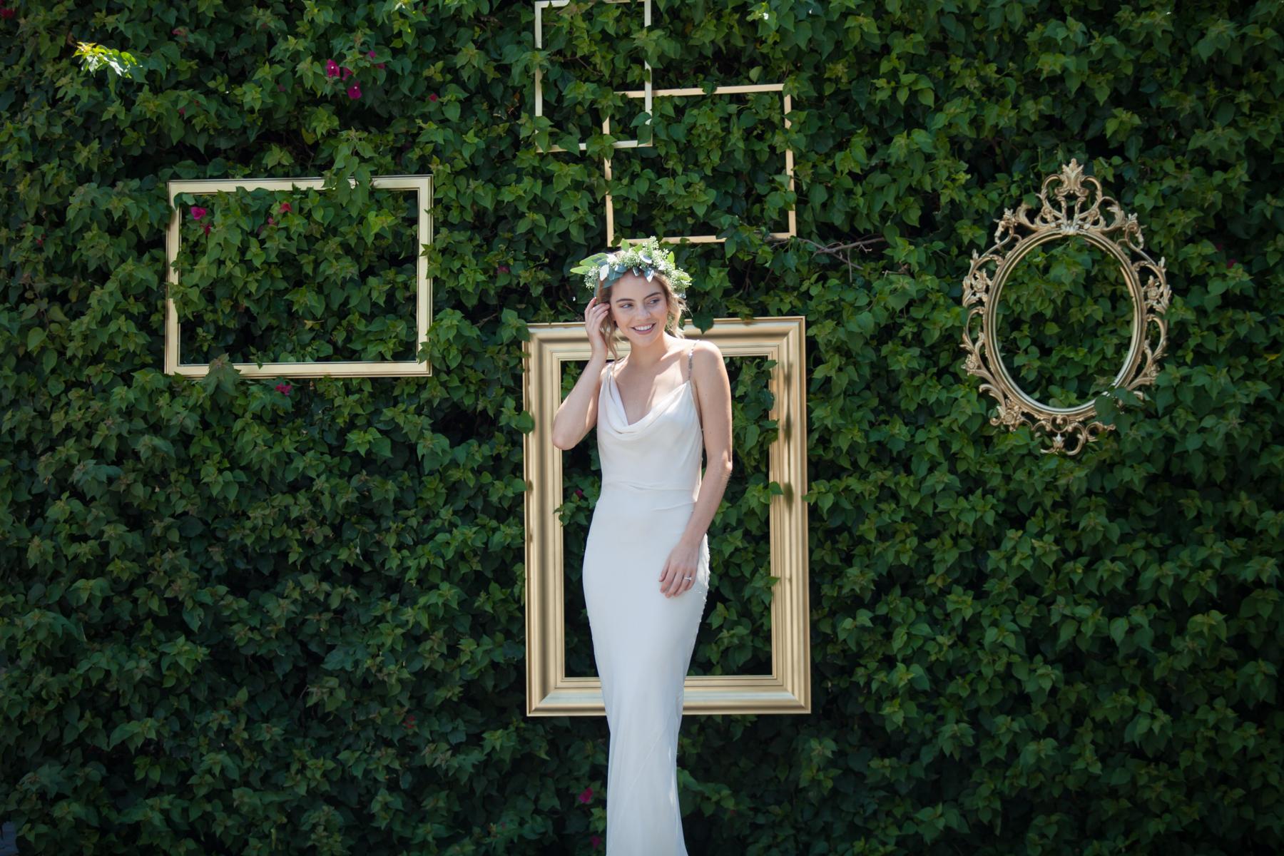 Frame Set - Gold frame set adorned on garden Hedge$50