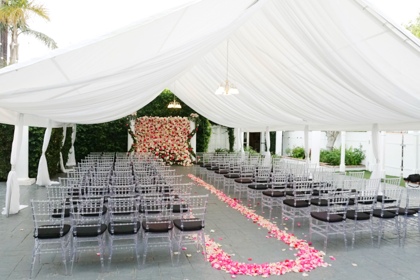 Draped Canopy - 30ft x 40ft Outdoor canopy with draping and chandeliers(Waterproof)$800
