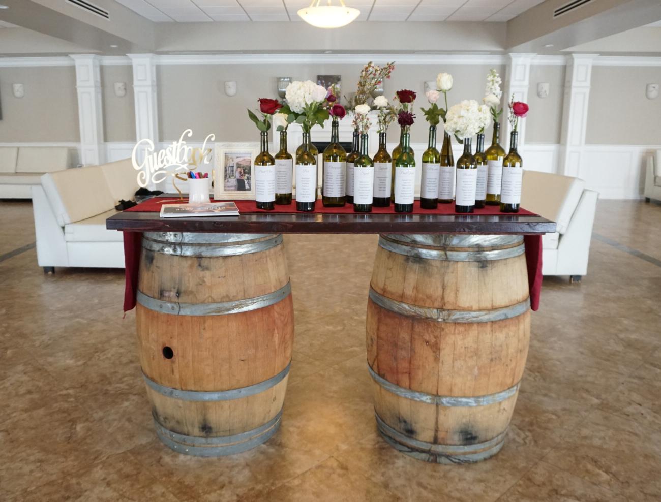 Wine Barrels - Pair of 3.5' oak wine barrels(Includes optional Wooden plank)$100