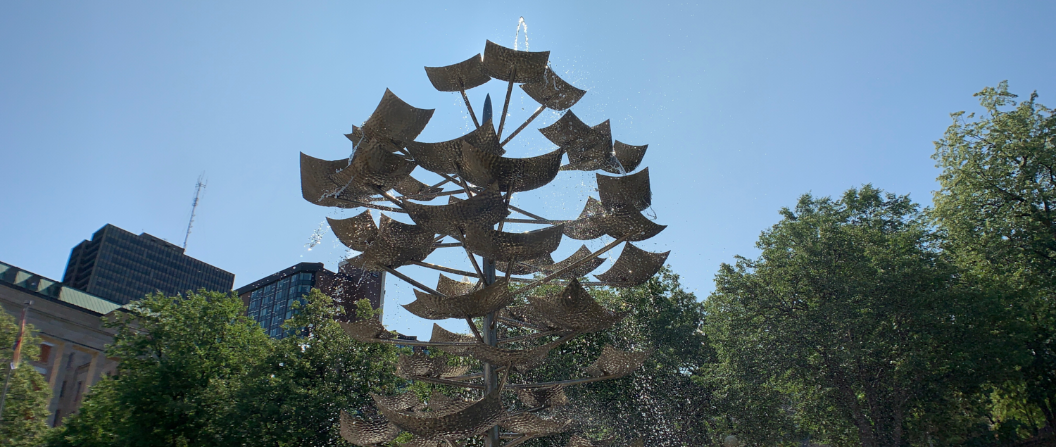 Fountain in the Garden of the provinces: 45.418869, -75.708035