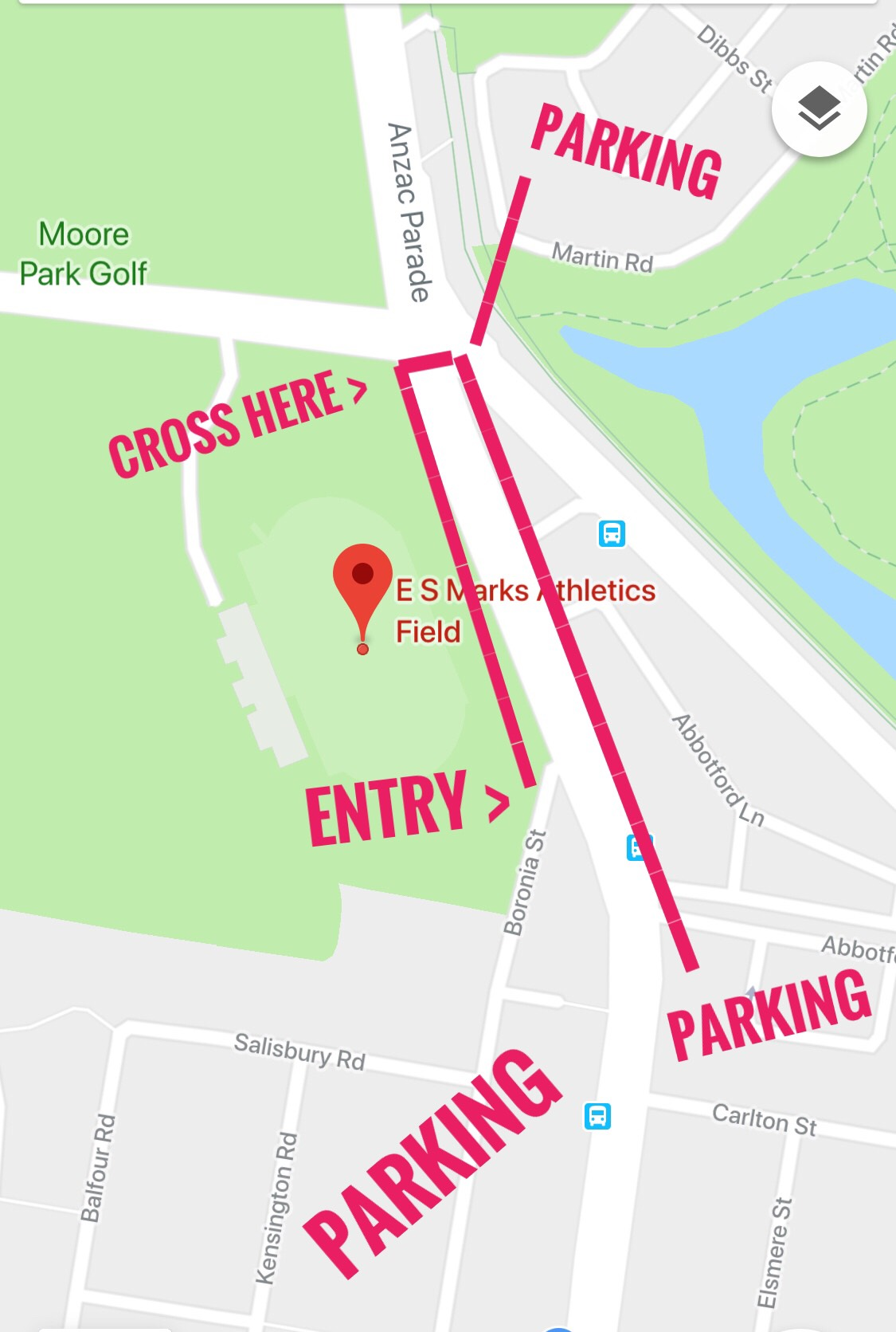 Due to Tram Works  if parking Centennial Park/ East Side you will need to cross Anzac Parade at lights...