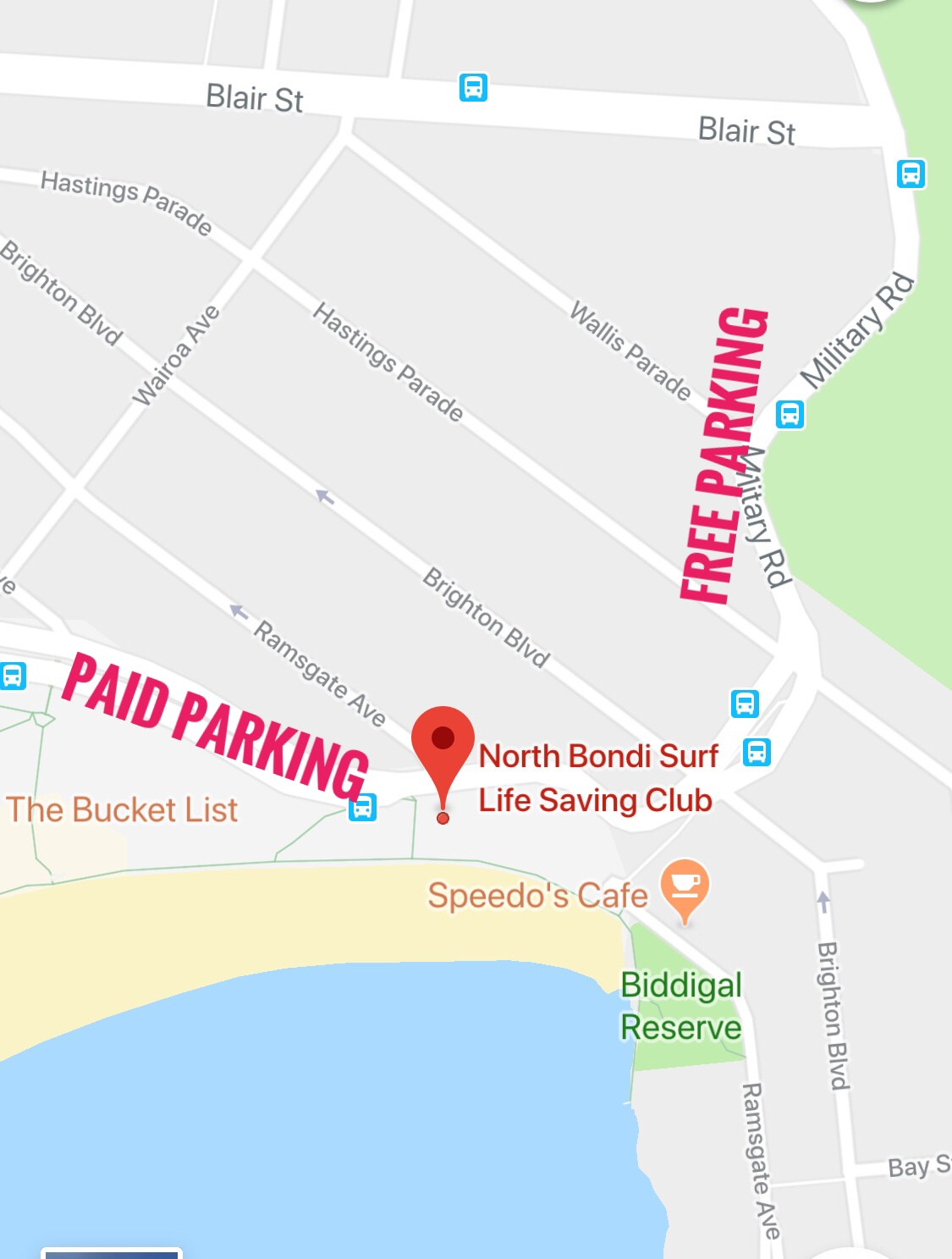Meet beach side North Bondi Surf Club  Please leave time to allow for parking!