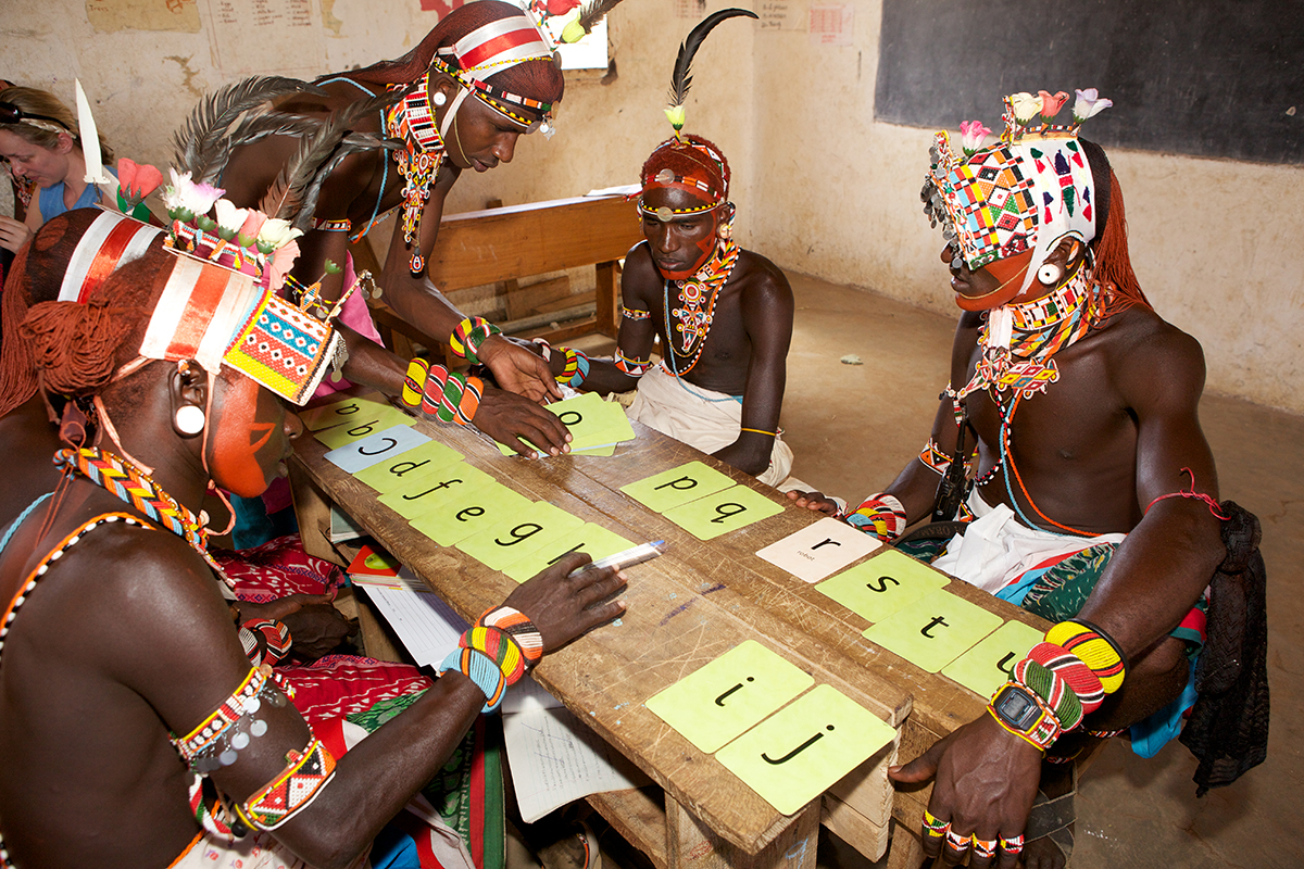 Samburu warriors participating in an Ewaso Lions literacy program