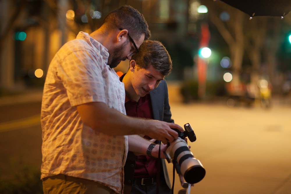 Deuce and Logen reviewing images while shooting at the Tampa Theatre