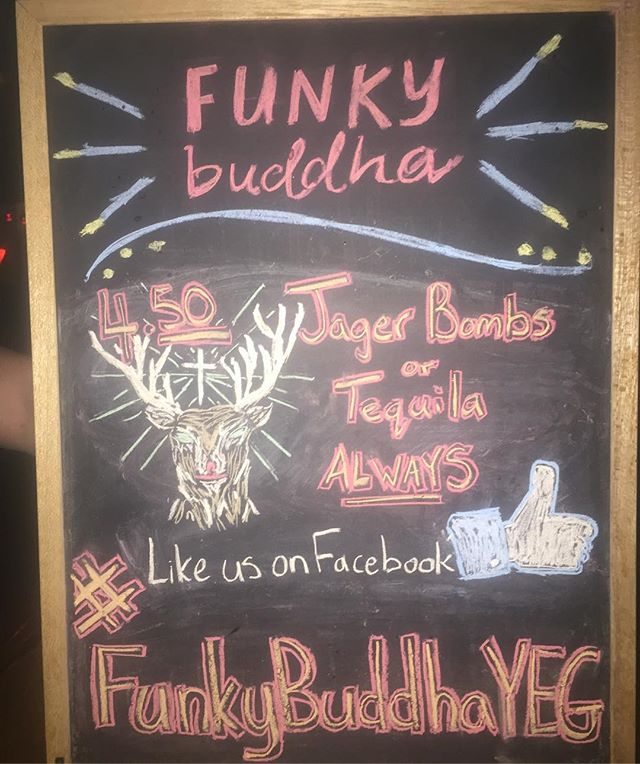 It's that time again #finallyfriday Come start the weekend off right! We have $14.50 Jugs of Kokanee and $4.50 JagerBombs and Tequila!  #whyteave #fridayvibes #yeg #funkybuddha #nait #uofa #macewanu #jagermeister #tequila
