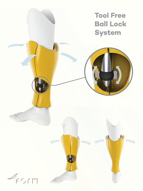 Form Prosthetics' unique tool free, adjustable fitting.