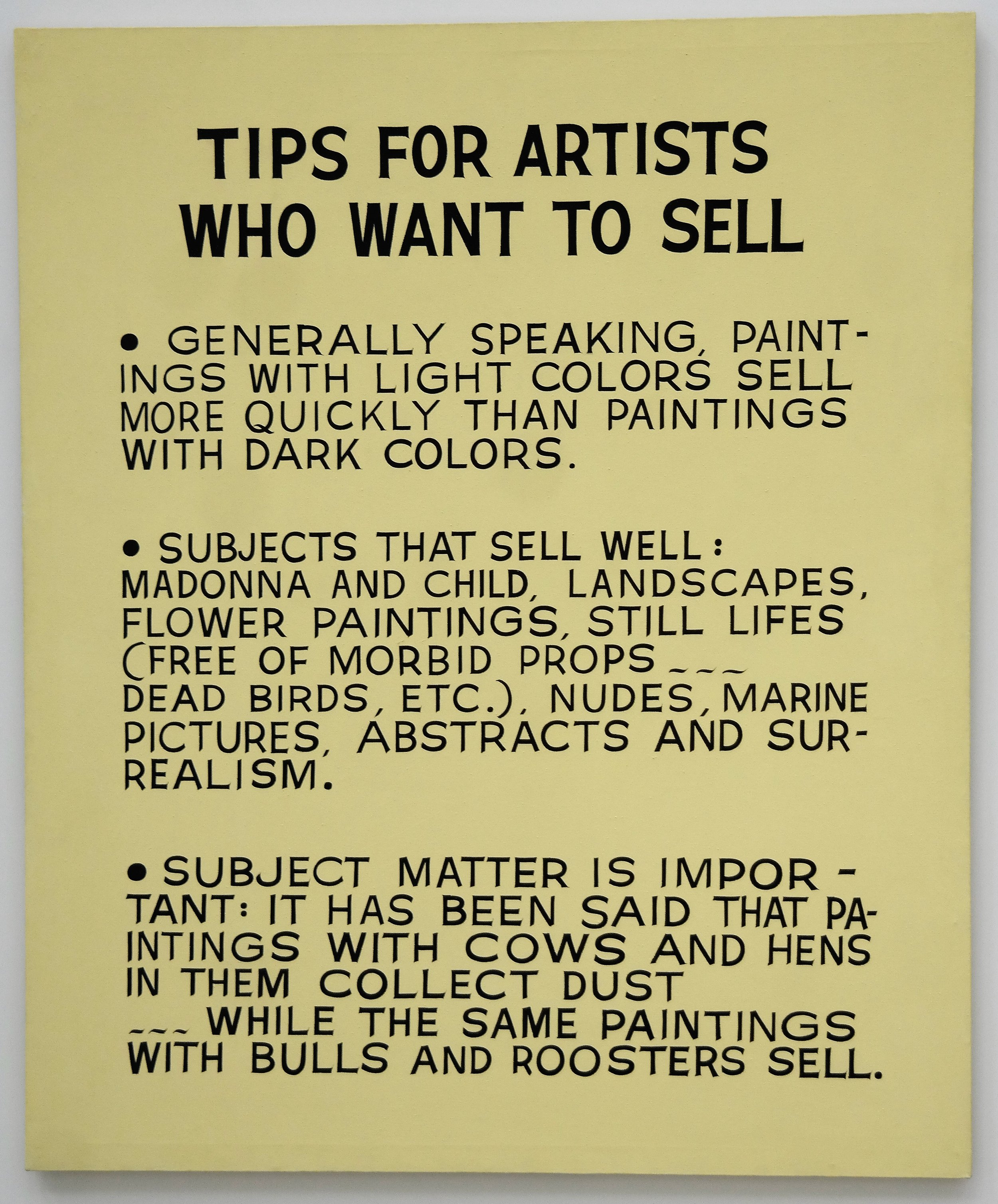 Tips for Artists who want to sell, John Baldessari, 1966-1968