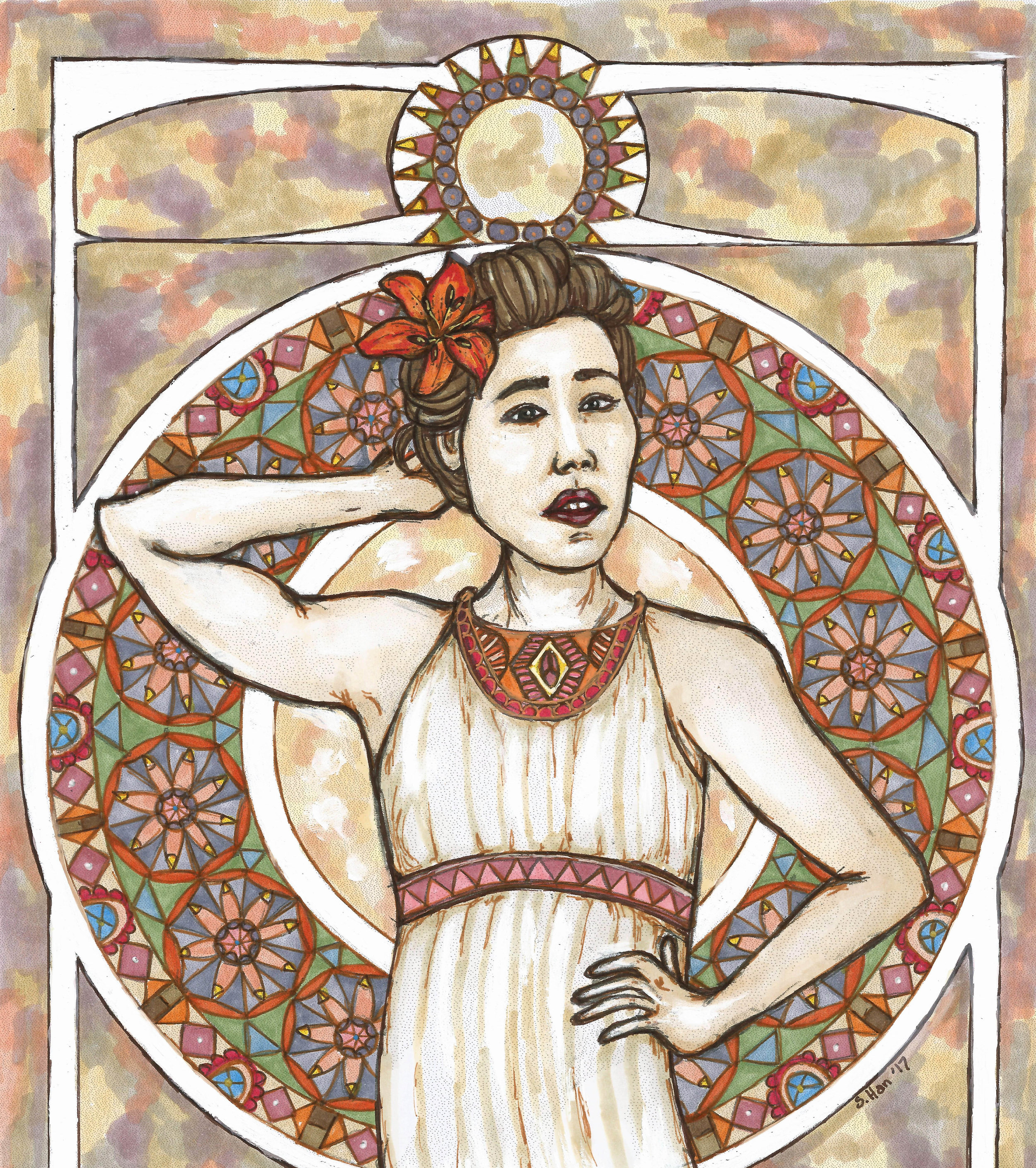 Mucha inspired self portrait