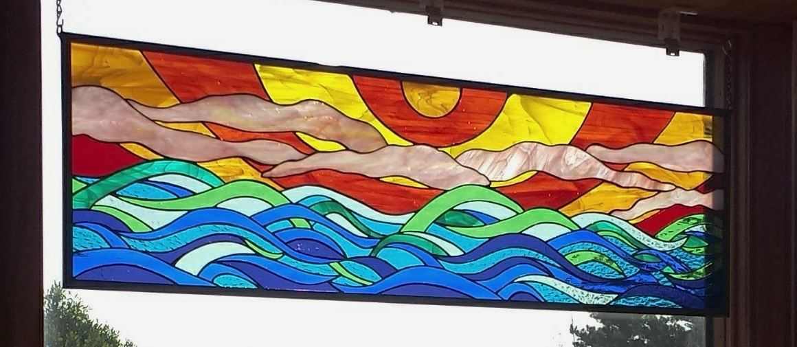 Sun and Waves ~ Stained Glass by Colleen Clifford ~ serving Humboldt county and beyond