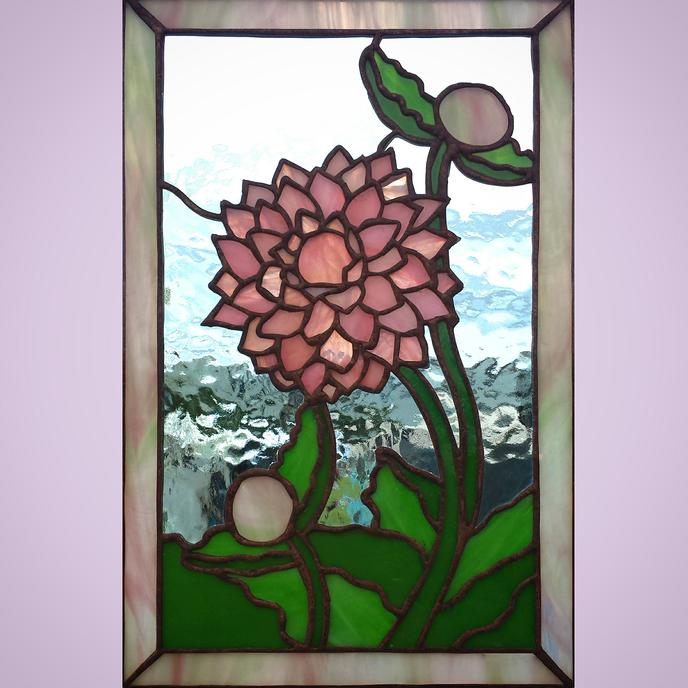 Pink Dahlia ~ Stained Glass by Colleen Clifford ~ serving Humboldt County and beyond