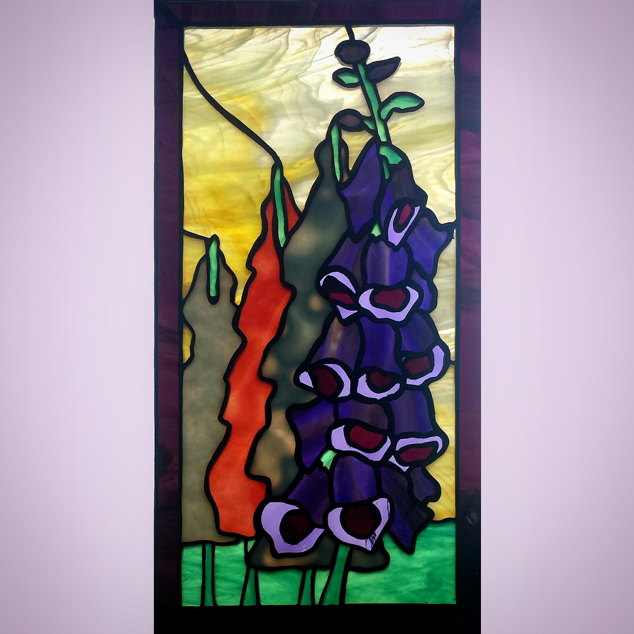 Funky Foxglove ~ Stained Glass by Colleen Clifford ~ serving Humboldt County and beyond