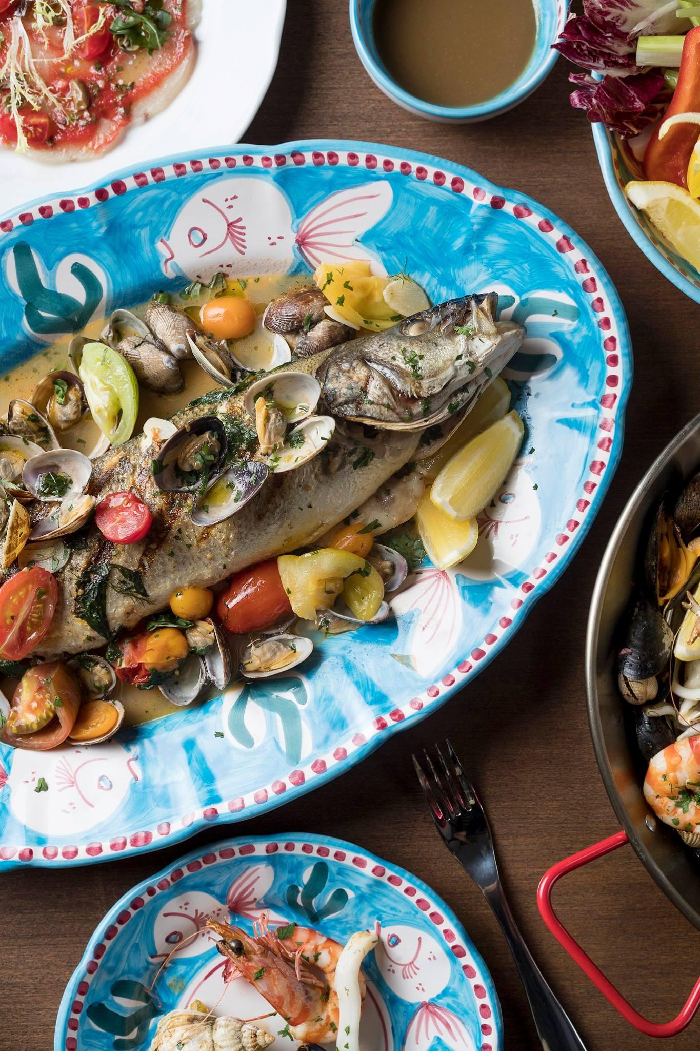 181016 Dish-Branzino Acqua Pazza served with fresh clams, olives and cherry tomatoes..jpg