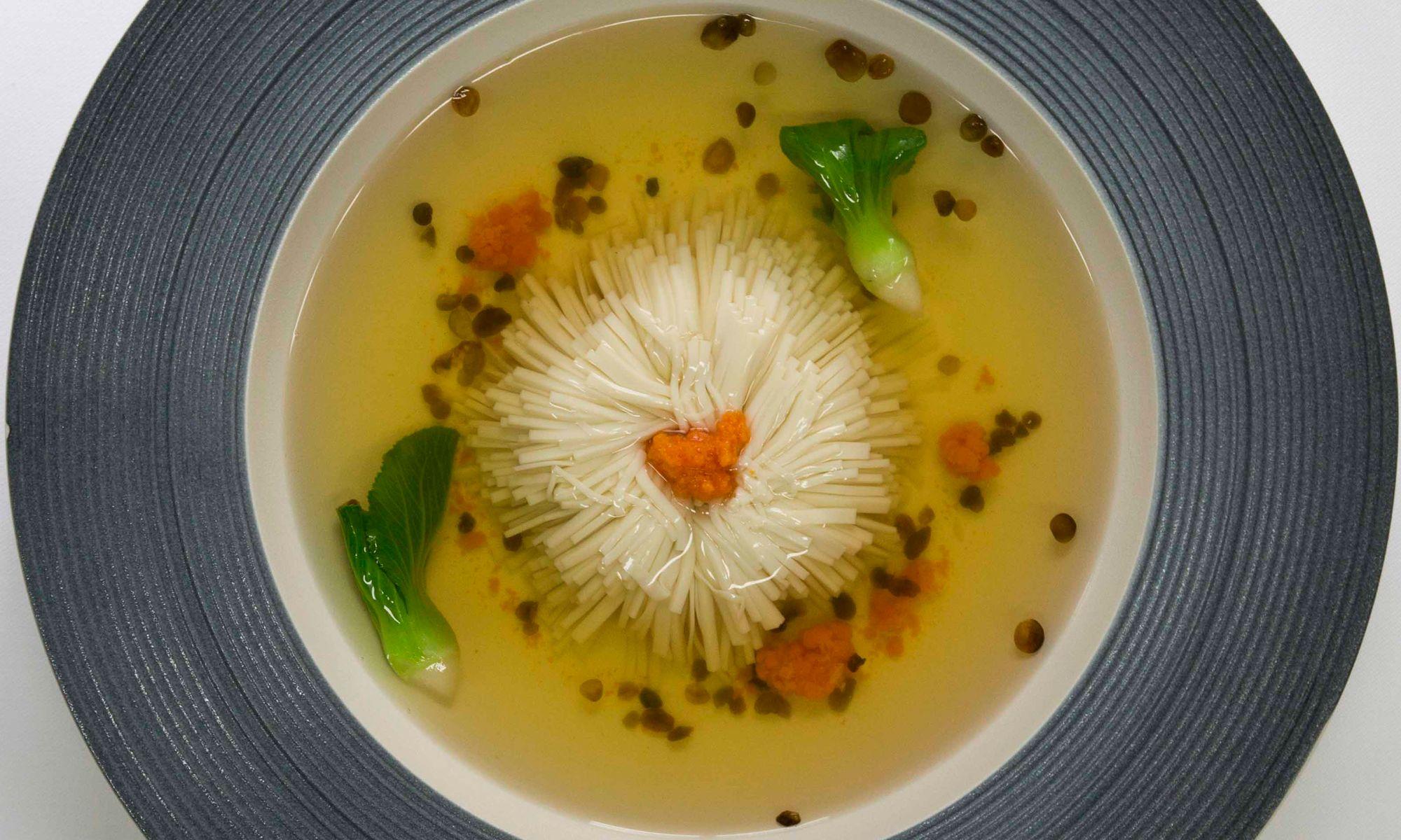 181115 Dish-Chrysanthemum 'thousand cut' silken tofu in chicken broth..jpg