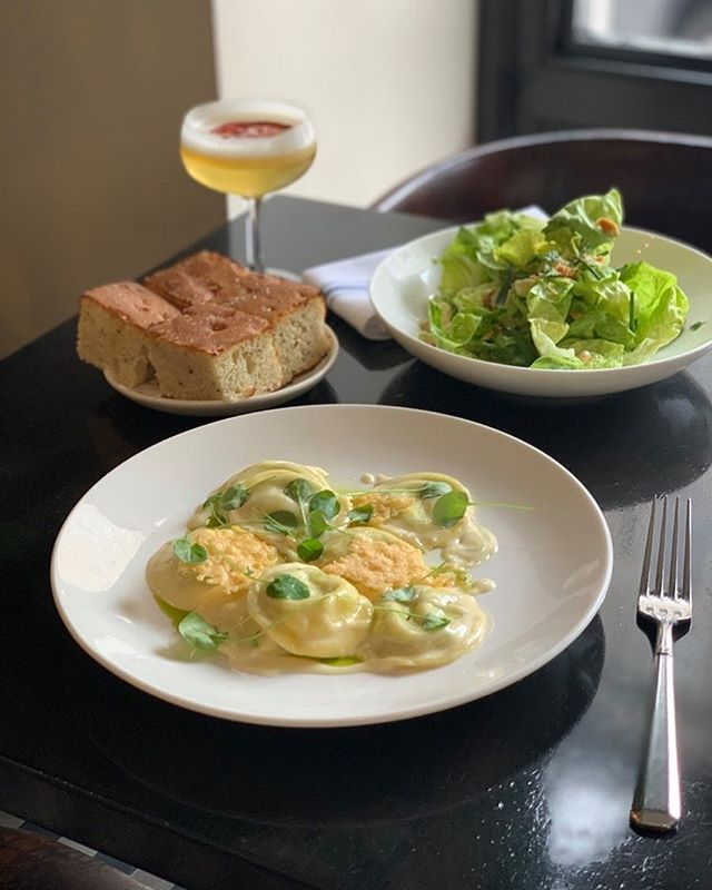Psst...you can get our ricotta & watercress ravioli with lemon-chive cream and crispy parmesan delivered right to your door via @ubereats . Add a butter lettuce salad and side of focaccia for an ideal Wednesday night.