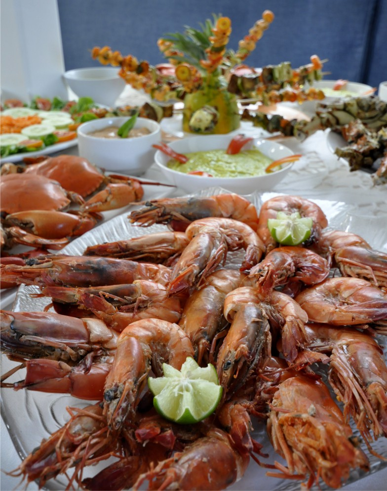 Prawn feast on a charter holiday