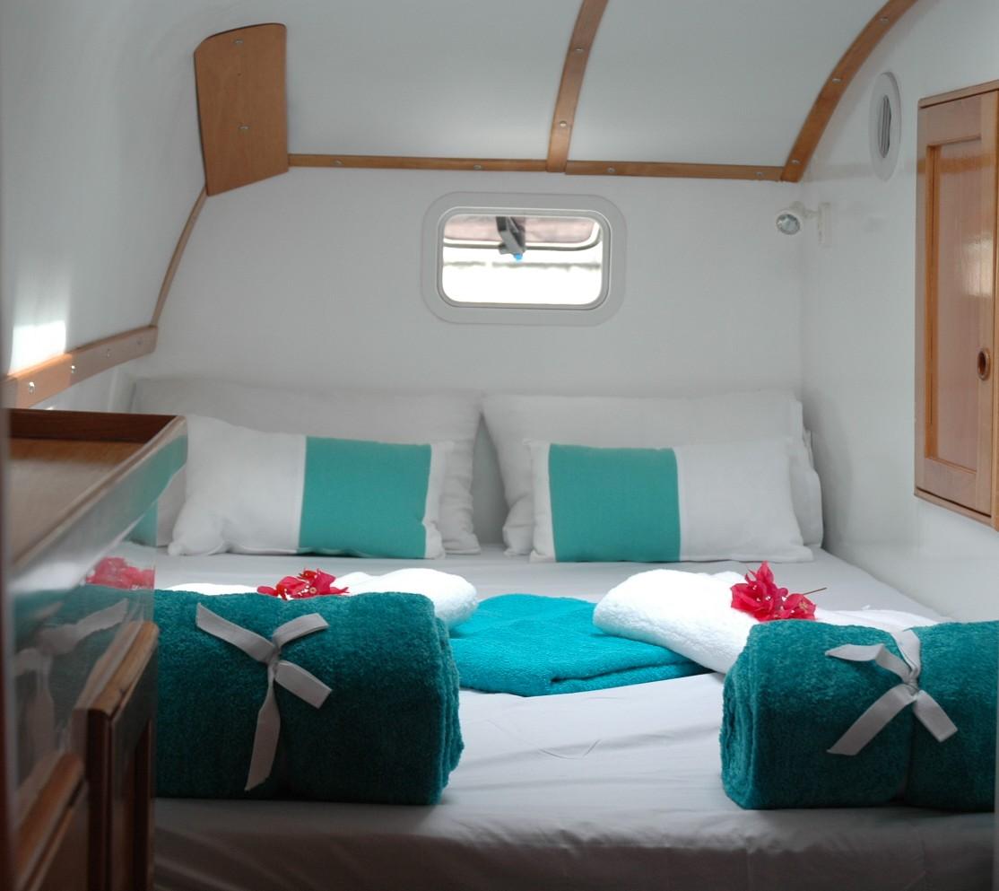 Luxury Bedroom on the charter Yacht