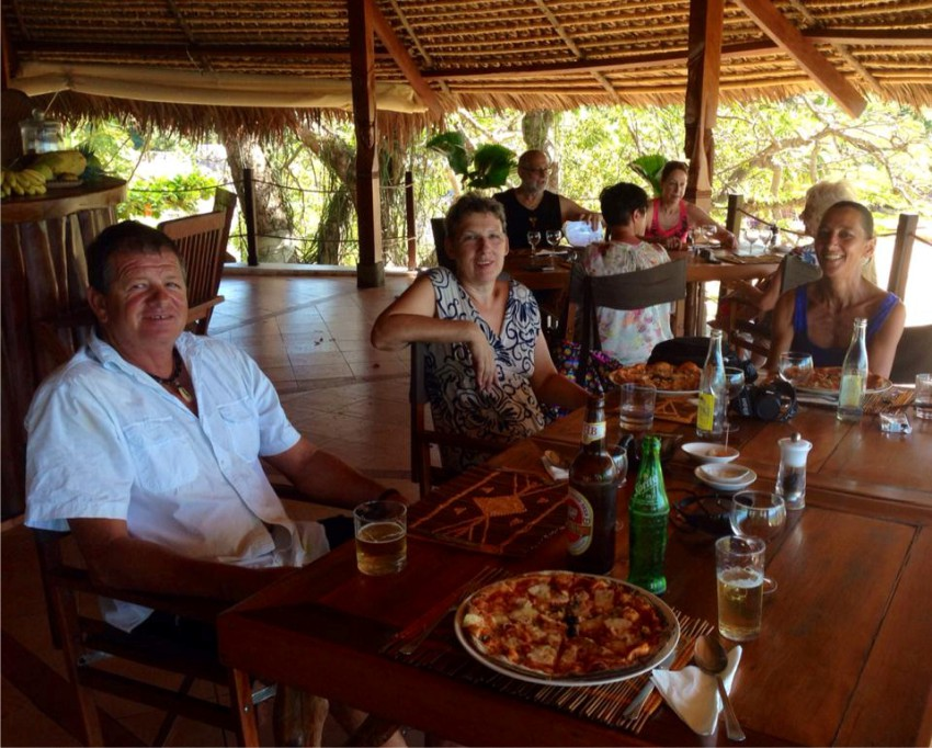 Family and friends enjoying a meal at 293 on Komba