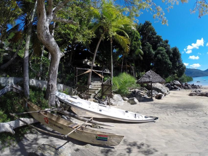 Canoes on the beach at 293 On Komba, Nosy Ambariovato, Madagascar