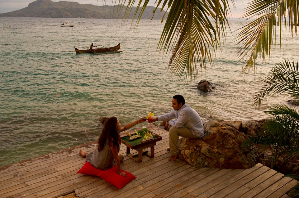 Relaxing deck on the water at Tsara Komba Lodge