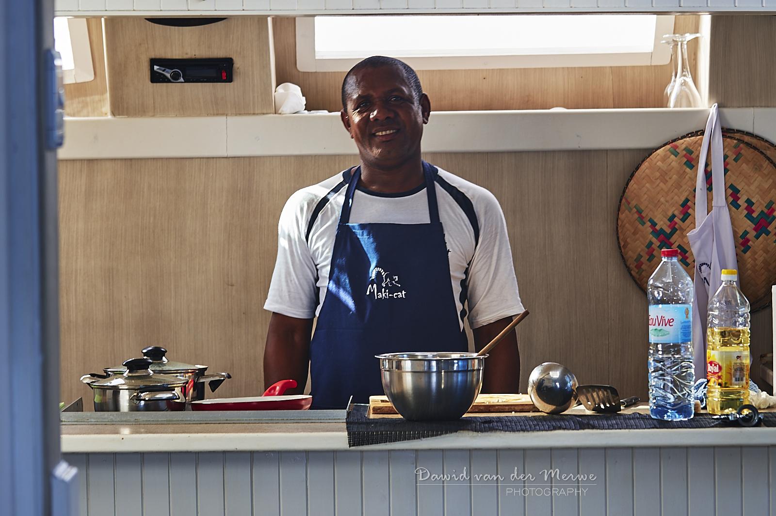 The chef aboard the Maki Cat