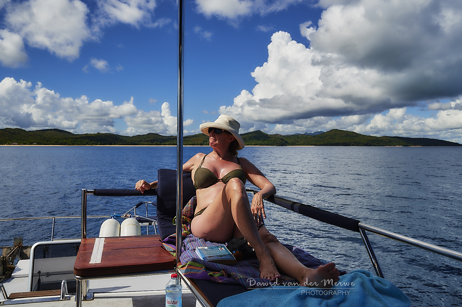 Enjoying the sun on a boat charter trip in Madagascar