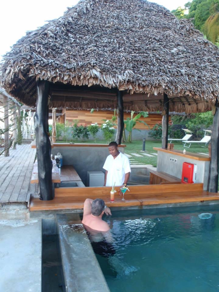 Rim flow pool at L'Heure Bleue Hotel