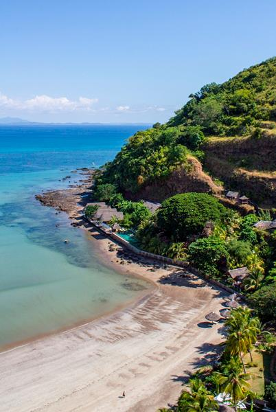 Views of the beach from L'Heure Bleue Hotel, nosy be Madagascar