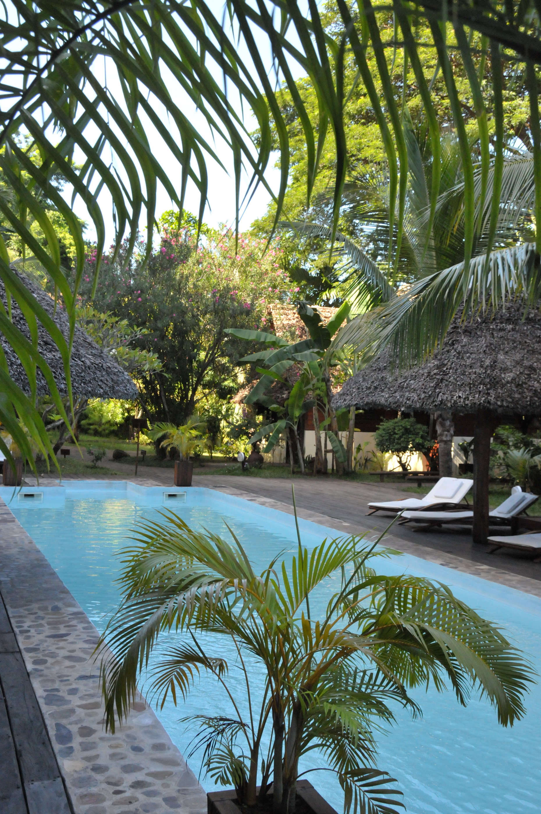 Long swimming Pool at L'Heure Bleue Hotel
