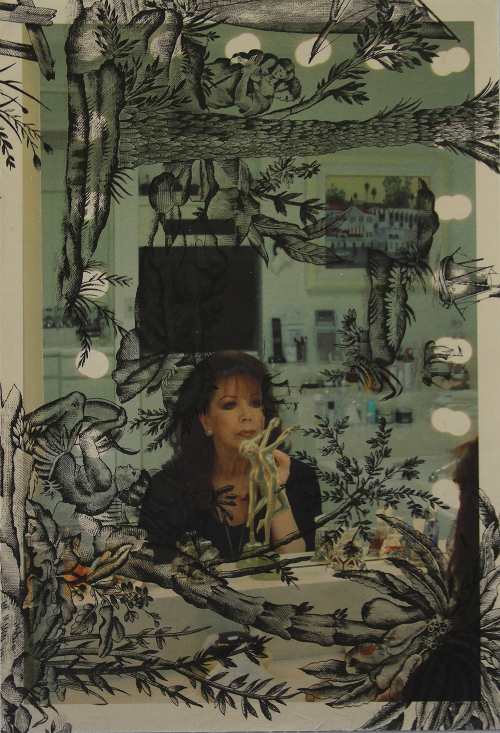 Jackie Collins Make-up mirror Los Angeles (on black Indian toile) 2014