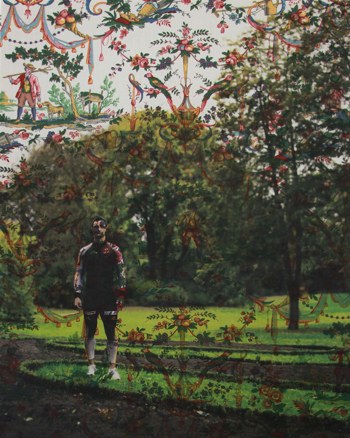 Thomas Poge standing with trees Sans Soucci (on parrot and harvest yellow red green  toile)  2015