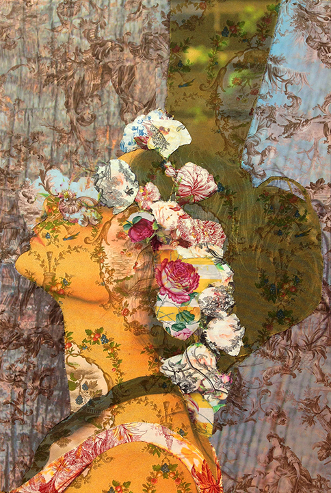 Demi Moore flower profile Los Angeles (on yellow Rooster toile, Valentino silk, red, blue pastoral toile) 2016