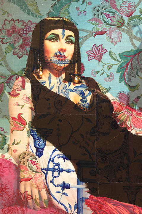 Wax statue of Elizabeth Taylor as Cleopatra Hollywood (on red and blue paisley print, Delft blue, and red tiger toile) 2016