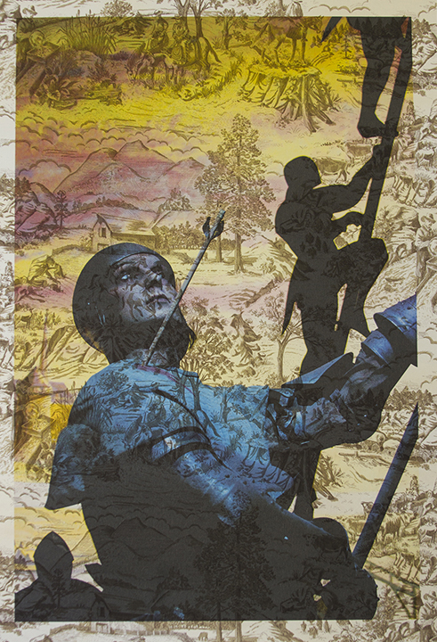 Wax statue of Joan of Arc Rouen (on brown and cream western toile) 2016