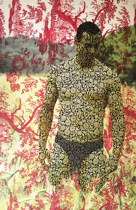 Thomas Poge standing in field Berlin (on red mythic toile, black and white floral cotton) 2015