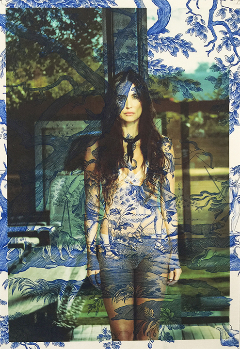 Demi Moore standing Los Angeles (on blue mythic toile) 2015