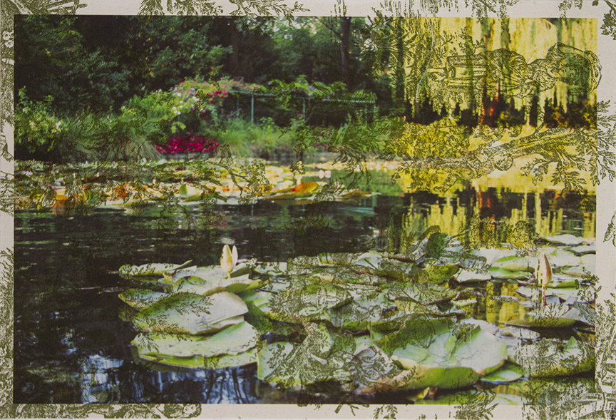 Monet's Water Garden Giverny (on green pastoral toile) 2012