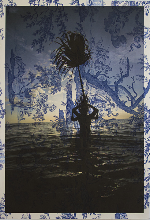 Damien Jalet & Arnaud Caizergues Palms in Water Captiva (on blue mythic toile) 2013