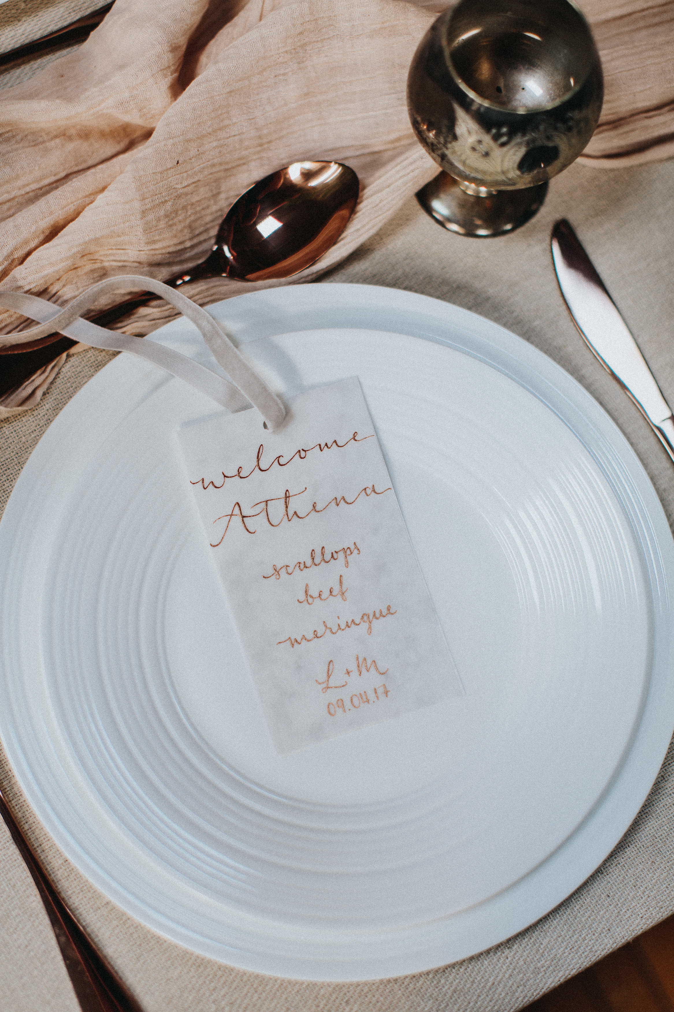Combine place cards with menus and save some room and some money!