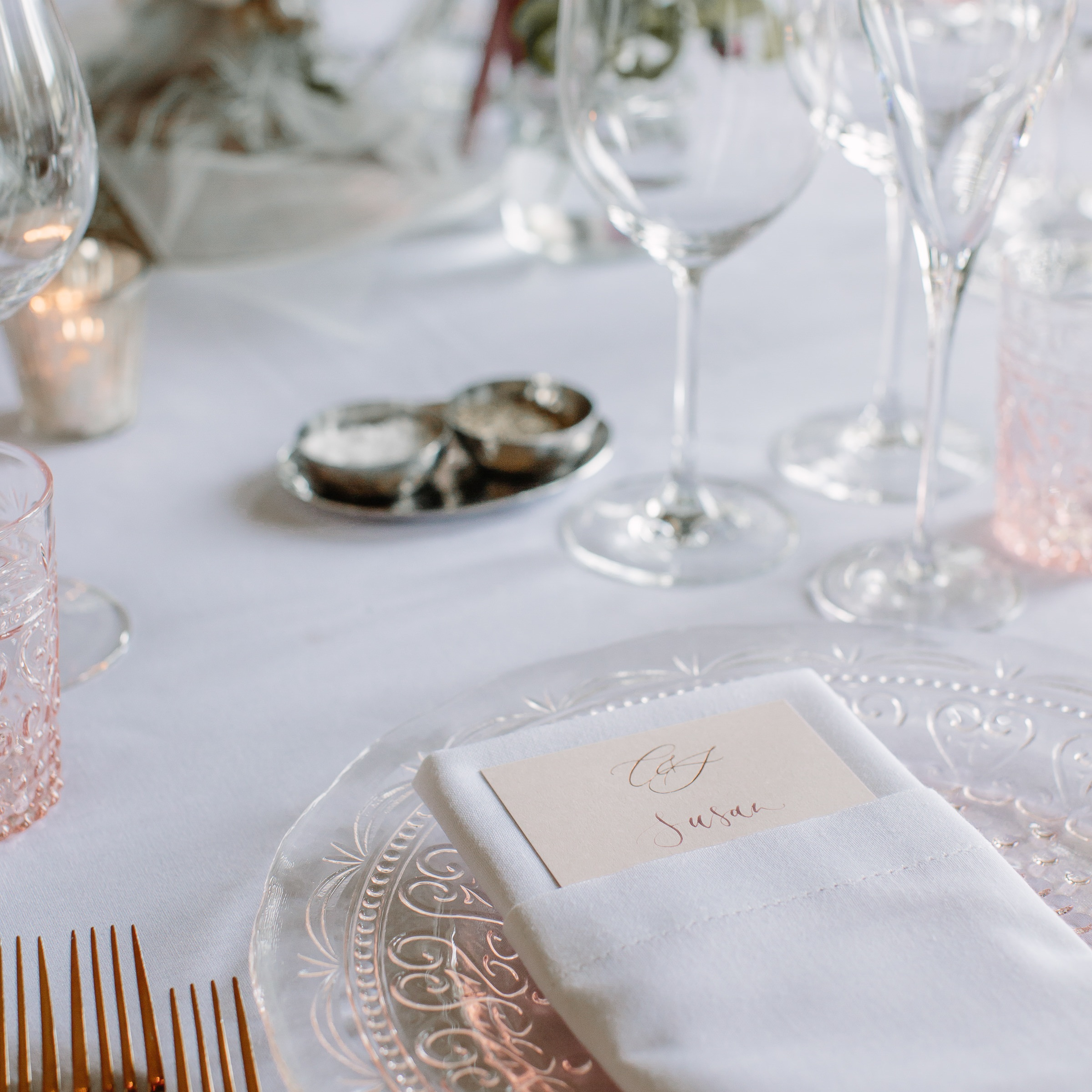 Personalised individual menu cards doubled up as place settings, hot foil printed by Rose Press and captured by Joanna Brown at Ragley Hall