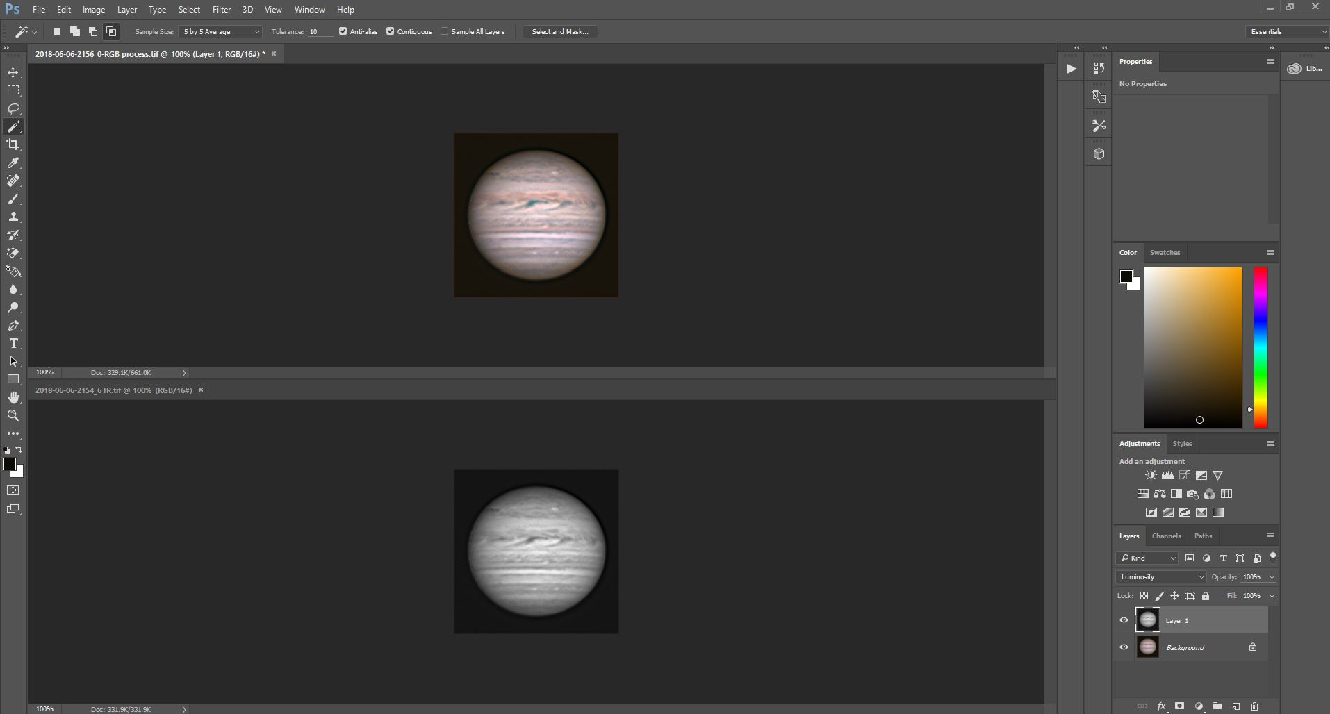 Applying IR image as Luminance layer in Photoshop