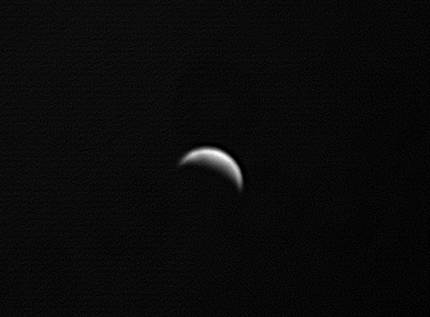 Venus through a Baader U Filter. Much more affected by 'seeing' but some cloud detail is now visible