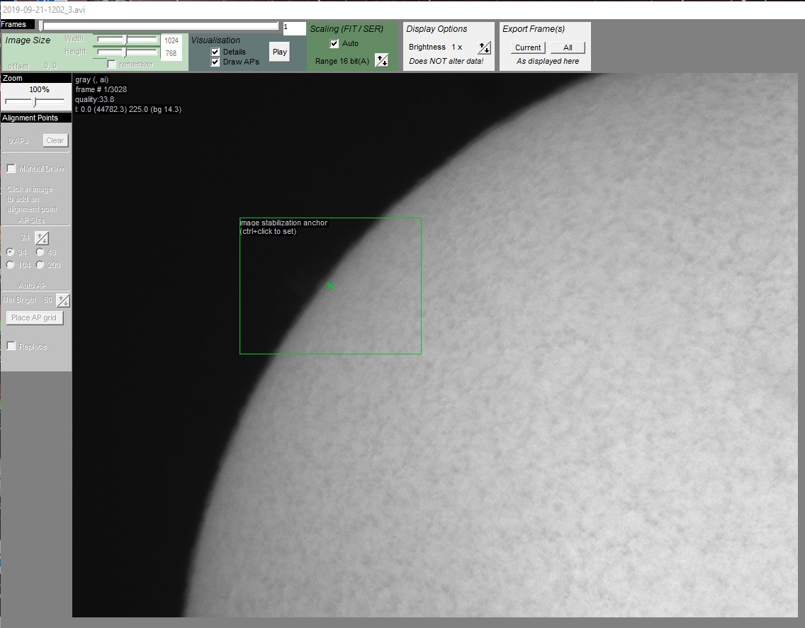 Now perform the same actions for the images exposed for the solar disk, here we are setting the alignment point prior to analysing in AutoStakkert