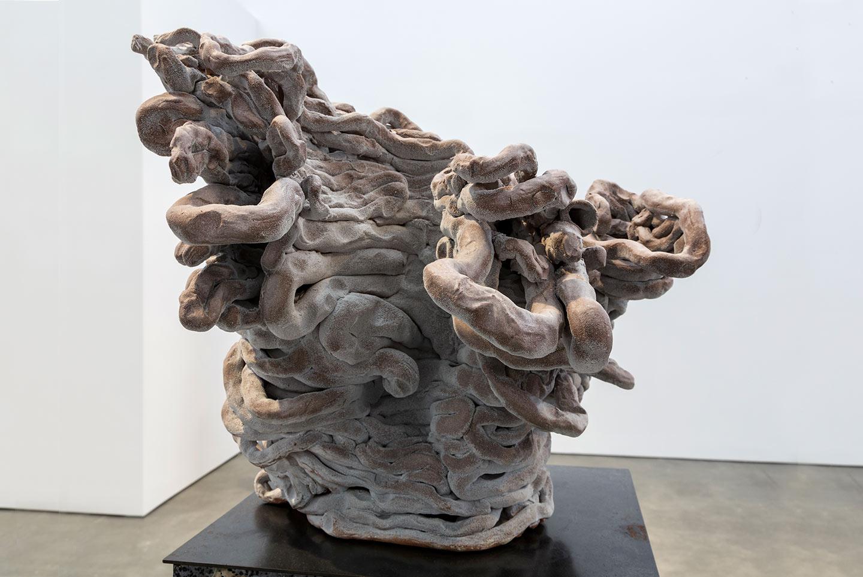 detail, Because of the Wind , 2010. Glazed ceramic, steel, glazed kiln bricks. 60.75 x 14 x 14 inches.