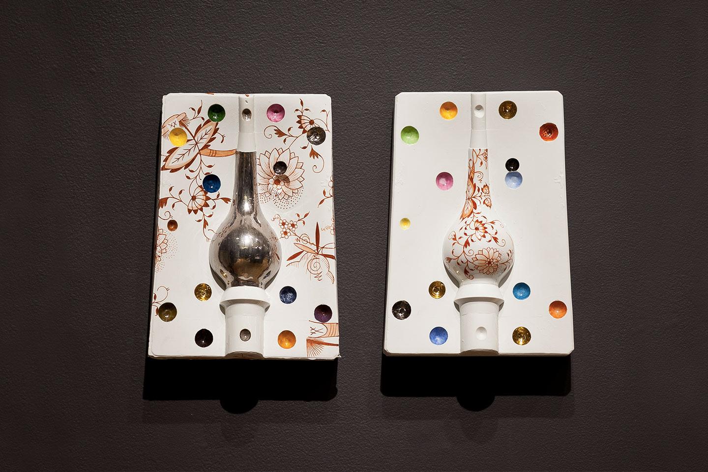 Asian Vase Pair,  2013. Glazed Meissen porcelain, platinum, gold. 11.75 x 8.5 x 2.62 inches each.