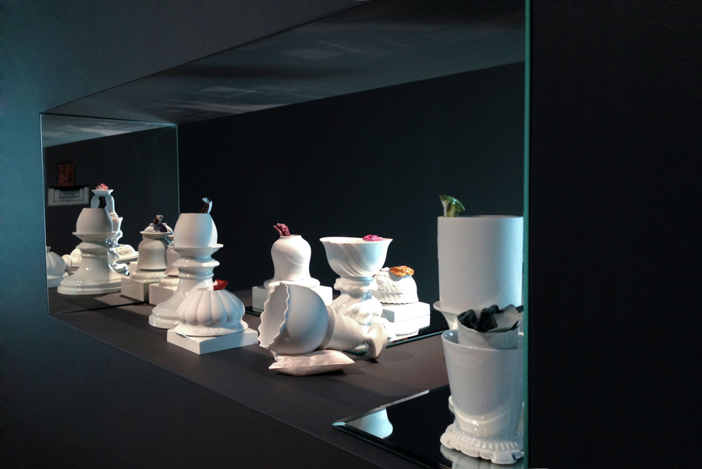 Installation view,  Meissen Recast , solo exhibition at RISD Museum, Providence, RI, 2014.