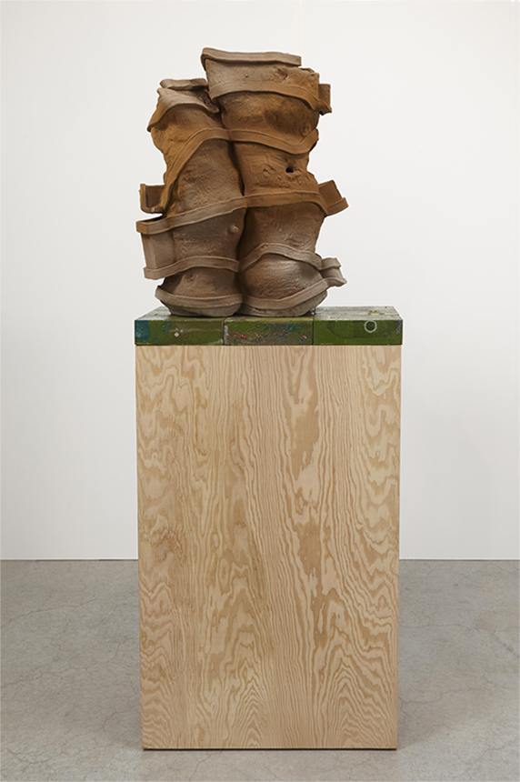 Out and Out , 2013. Glazed ceramic, glazed kiln bricks, plywood. 28 x 24 x 15 inches.