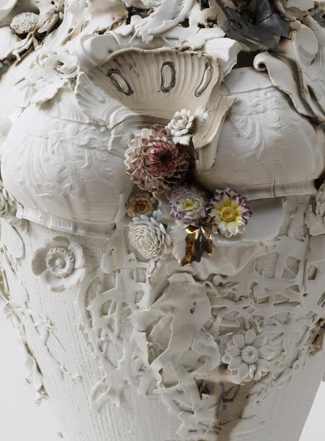 detail, Swan Vase , 2013. Glazed Meissen porcelain, gold. 32.25 x 15.75 x 15.75 inches.